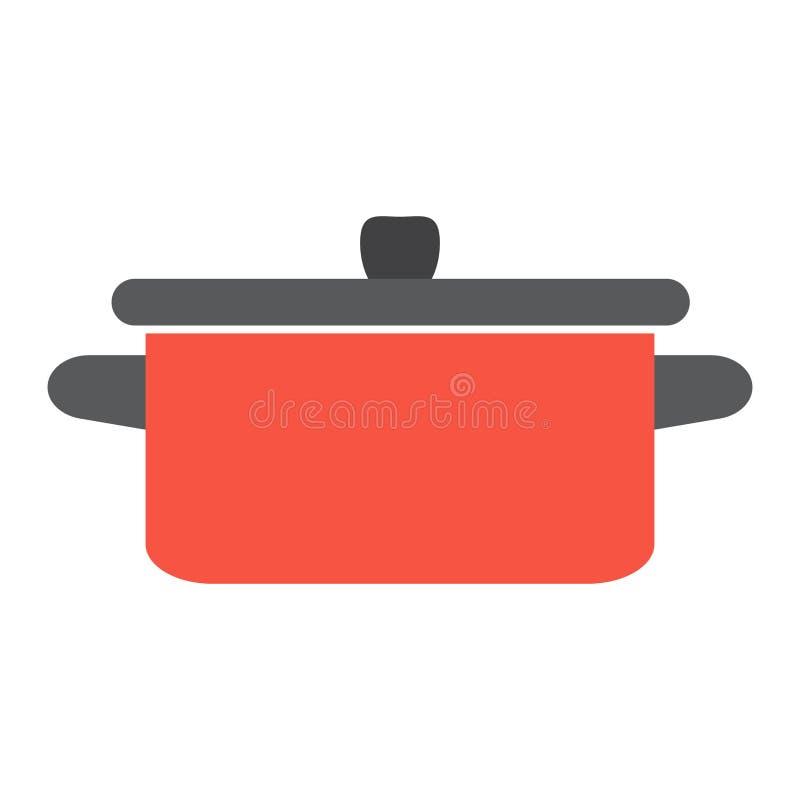 Rote Wanne Einzelne flache Ikone auf weißem Hintergrund Topfvektorillustration stock abbildung