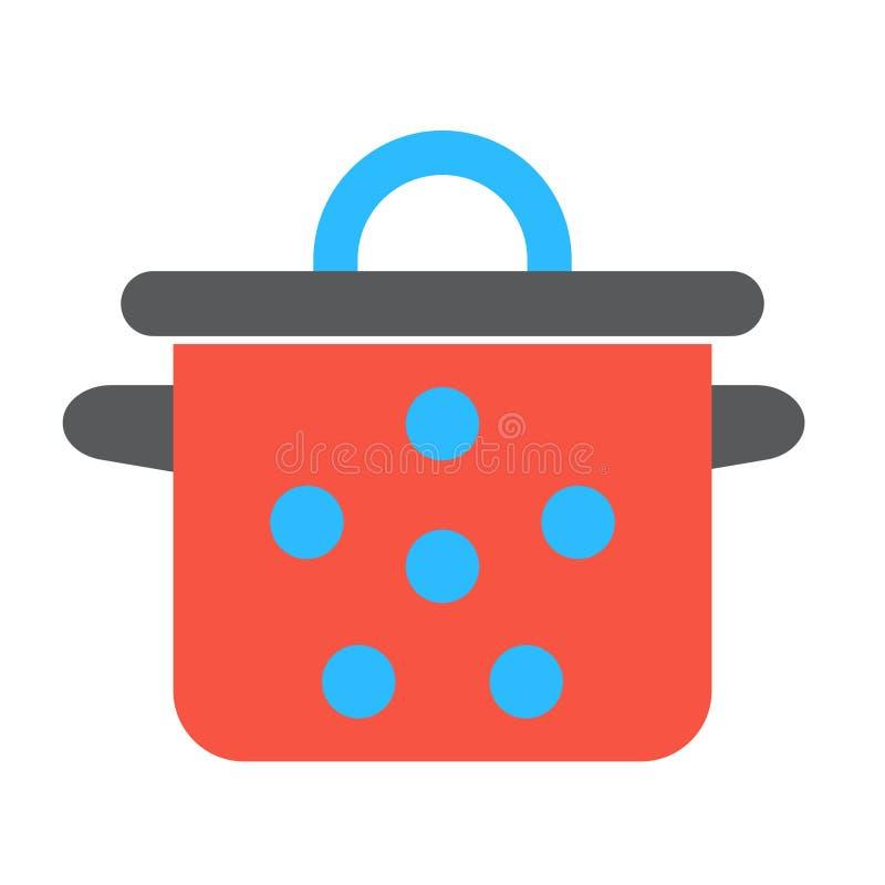 Rote Wanne mit blauer Stellenweinlese Einzelne flache Ikone auf weißem Hintergrund Topfvektorillustration stock abbildung