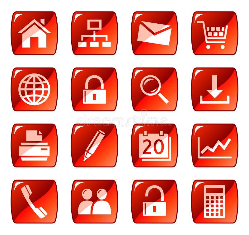 Rote Web-Ikonen/-tasten lizenzfreie abbildung