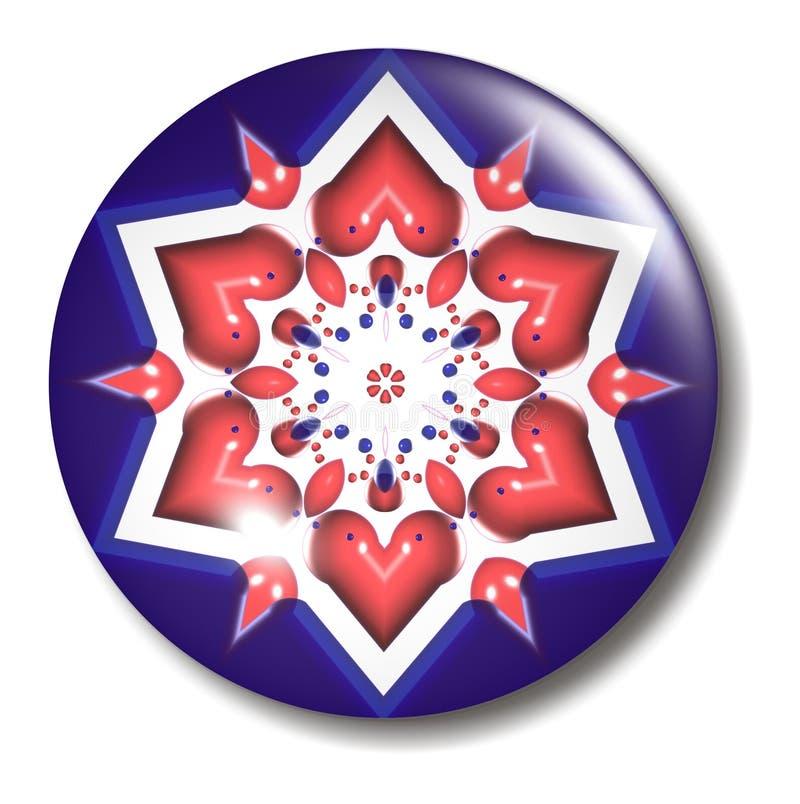 Rote weiße blauer Stern-Tasten-Kugel lizenzfreie abbildung