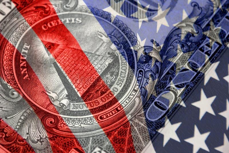 Rote, weiße und blaue Finanzsymbole stockfoto
