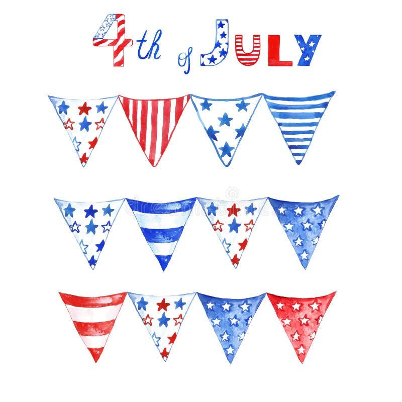 Rote, weiße und blaue patriotische Flaggenflagge des Aquarells, für Juli 4., Denkmal und Unabhängigkeitstag Patriotische Flaggeng stock abbildung