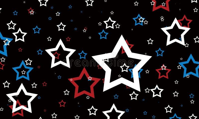Rote weiße und blaue Sterne auf schwarzem Hintergrund 4. Juli Hintergrund lizenzfreie abbildung