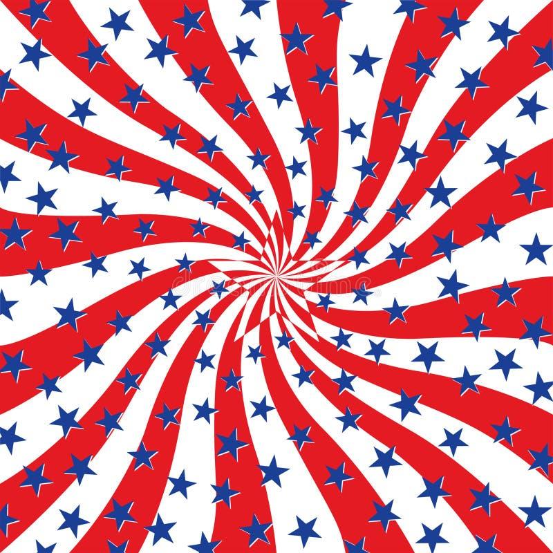 Rote weiße und blaue Sterne auf Strudel-Hintergrund vektor abbildung
