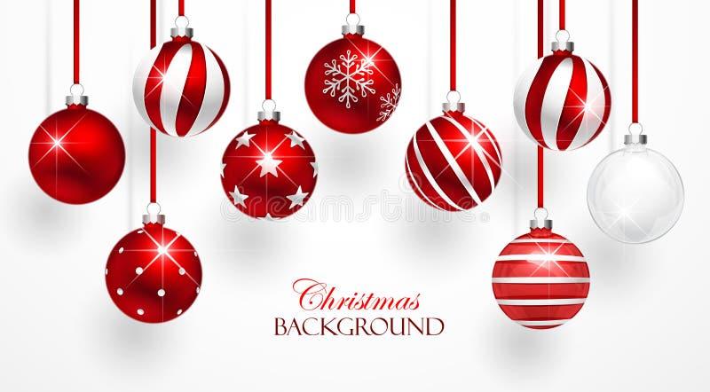 Rote Weihnachtsbälle eingestellt lizenzfreie abbildung