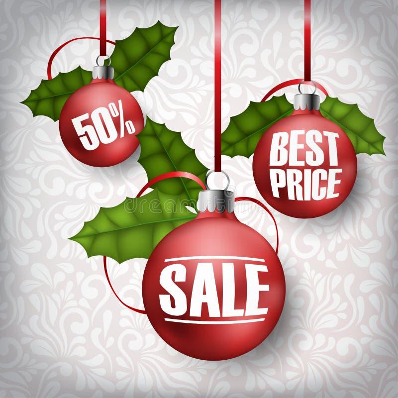 Rote Weihnachtsbälle für Verkauf mit realistischem Stechpalmenblatt und roten Bändern stock abbildung