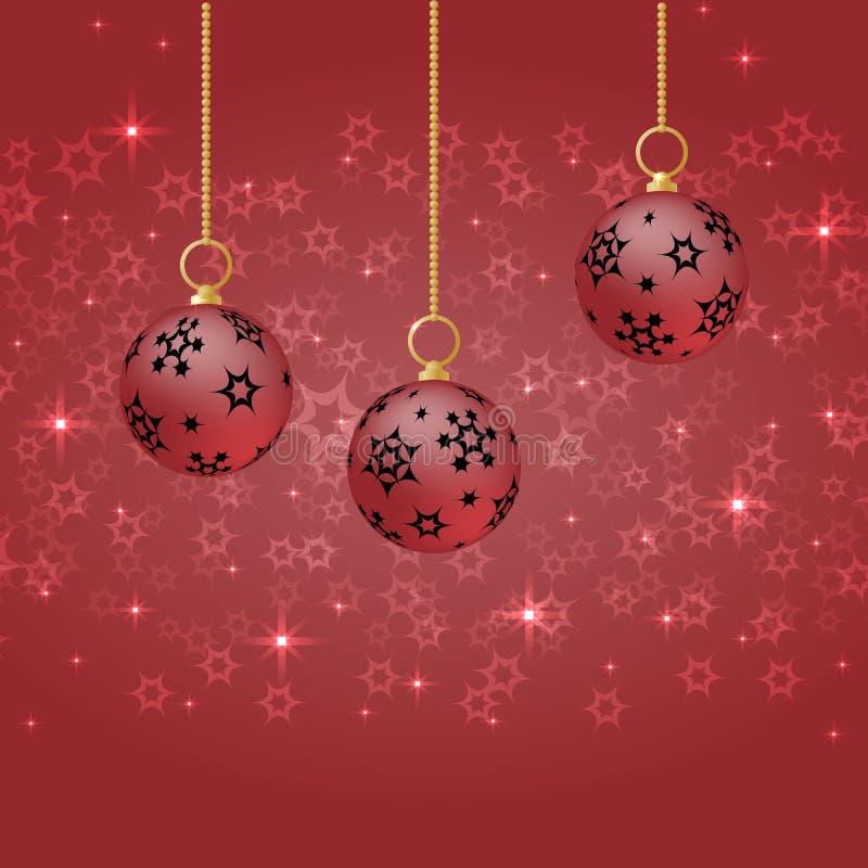 Rote Weihnachtsbälle mit der Verzierung, die am roten Hintergrund hängt vektor abbildung