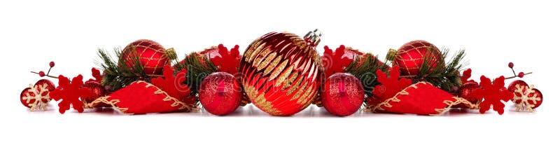Rote Weihnachtsflittergrenze lokalisiert auf Weiß stockbilder