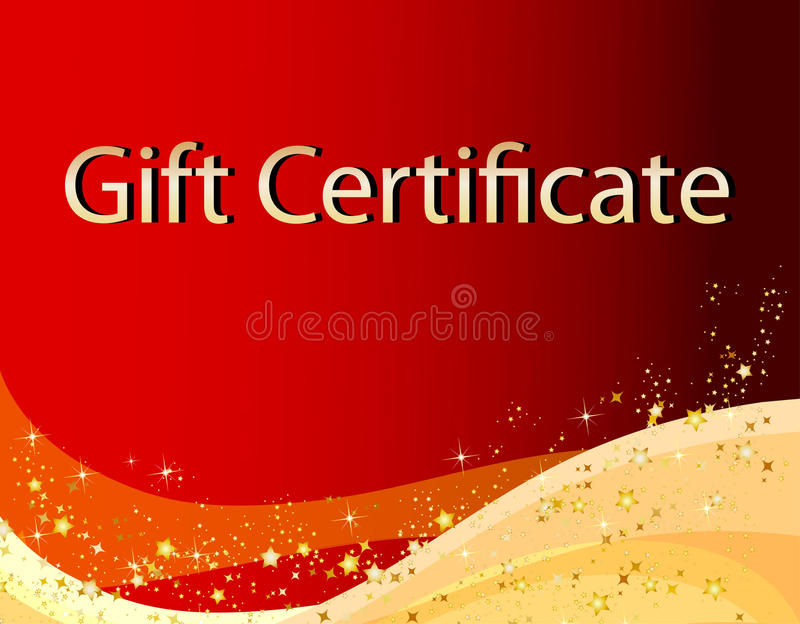 Rote Weihnachtsgeschenk-Bescheinigung lizenzfreie abbildung