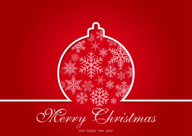 Rote Weihnachtsgrußkarte lizenzfreie abbildung