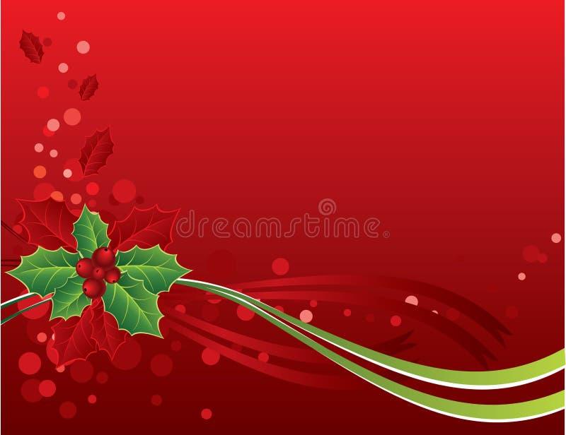 Rote Weihnachtskarte mit Stechpalmebeeren stock abbildung