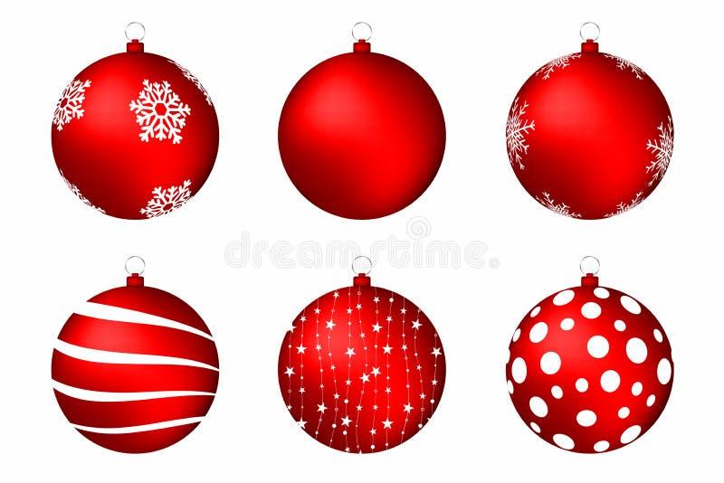 Rote Weihnachtskugeln getrennt auf weißem Hintergrund Satz Weihnachtsbälle mit Schneeflocken, Kreisen und abstrakten Mustern stock abbildung