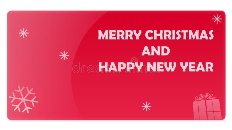 Rote Weihnachtsneues Jahr-Geschenk-Karte vektor abbildung