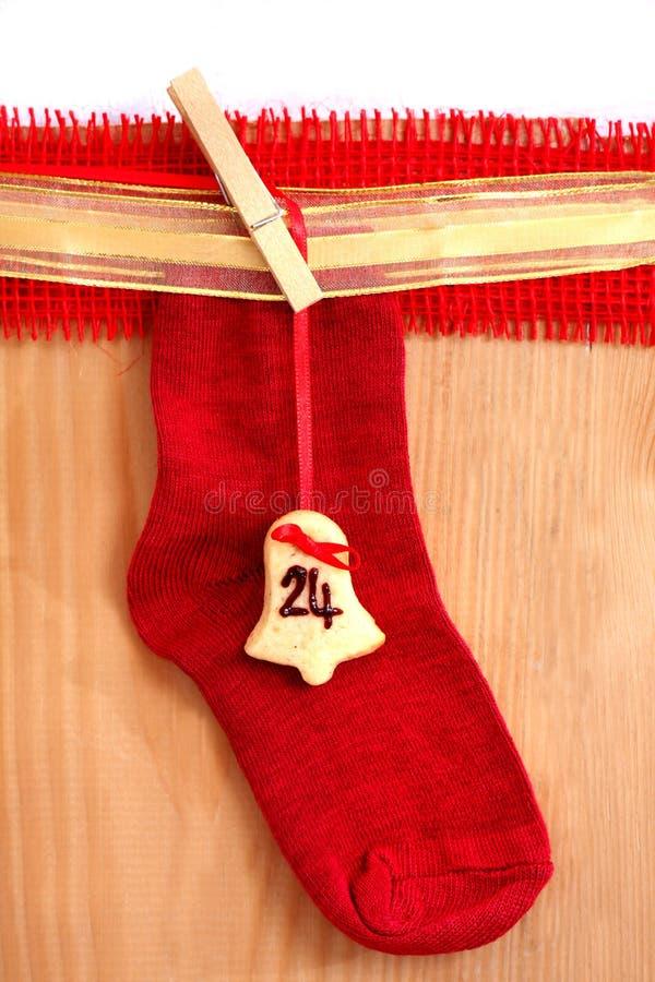 Rote Weihnachtssocke lizenzfreie stockfotos
