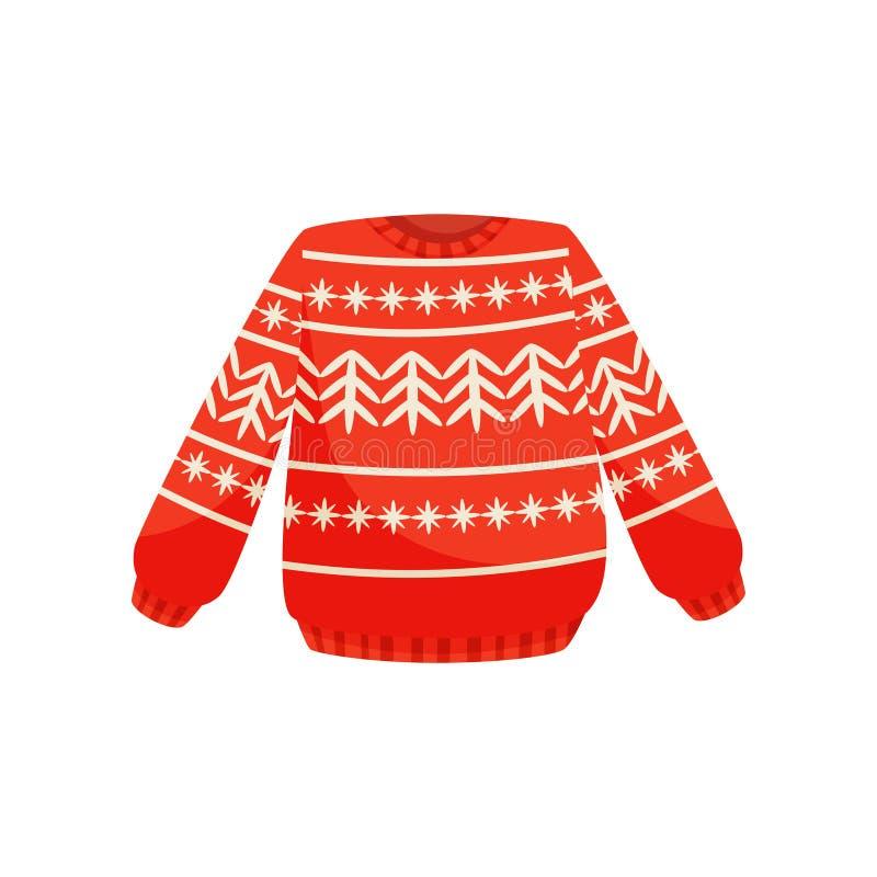 Rote Weihnachtsstrickjacke mit norwegischer Verzierung, gestrickte warme Pullovervektor Illustration auf einem weißen Hintergrund stock abbildung