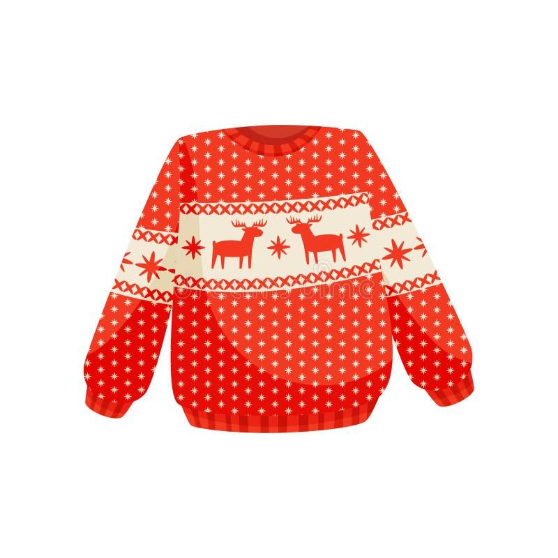 Rote Weihnachtsstrickjacke mit norwegischer Verzierung, gestrickter warmer Pullover mit Renvektor Illustration auf einem Weiß lizenzfreie abbildung