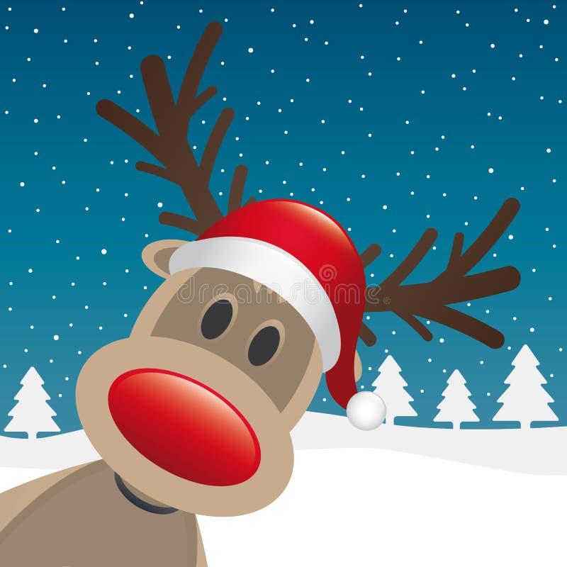 Rote Wekzeugspritze und Hut des Rudolph-Rens lizenzfreie abbildung