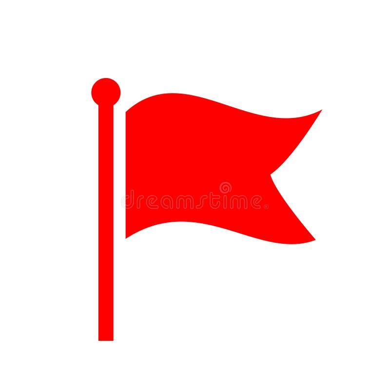 Rote wellenartig bewegende Flaggenvektorikone lizenzfreie abbildung