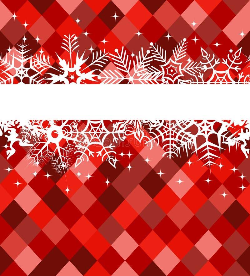 Rote Winterfahne mit Schneeflocken lizenzfreie abbildung