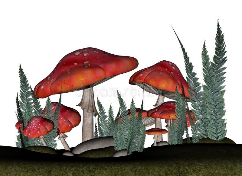Rote Wulstling muscaria Pilze - 3D übertragen stock abbildung