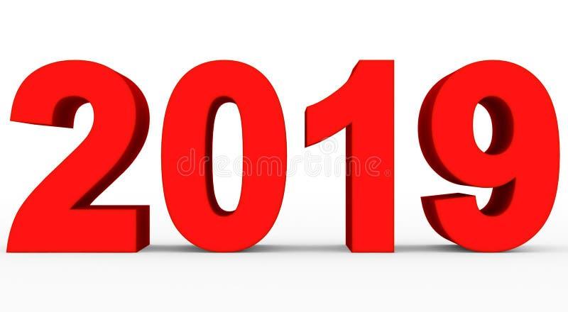 Rote Zahlen 3d des Jahres 2019 lokalisiert auf Weiß vektor abbildung