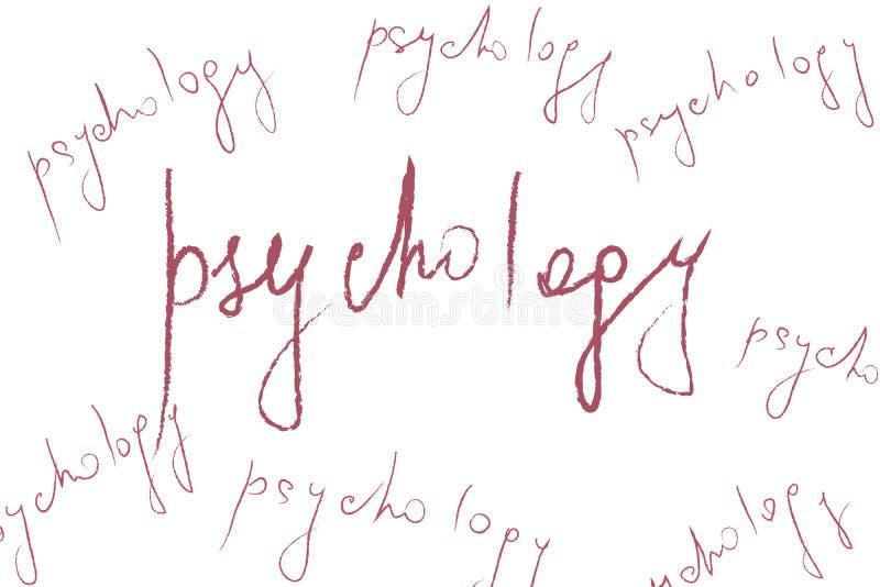 Rote Zeichenpsychologie auf abstraktem beige Hintergrund - Konzept der psychischen Gesundheit und der Psychotherapie vektor abbildung