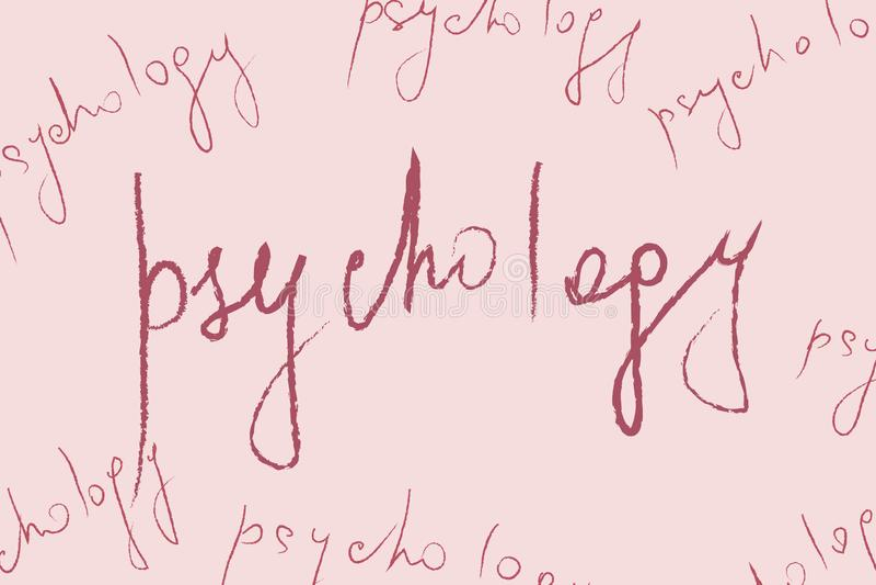 Rote Zeichenpsychologie auf abstraktem beije Hintergrund - Konzept der psychischen Gesundheit und der Psychotherapie vektor abbildung