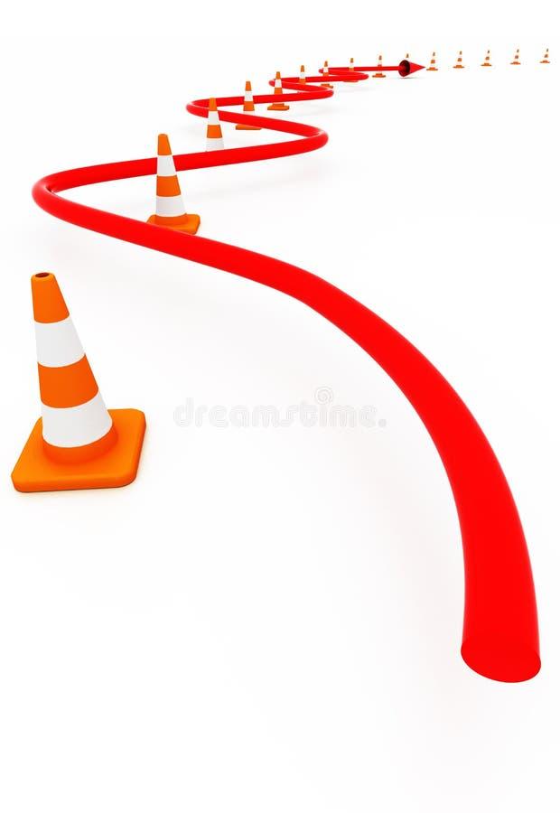 Rote Zeile im Pfad der Straßenkegel vektor abbildung