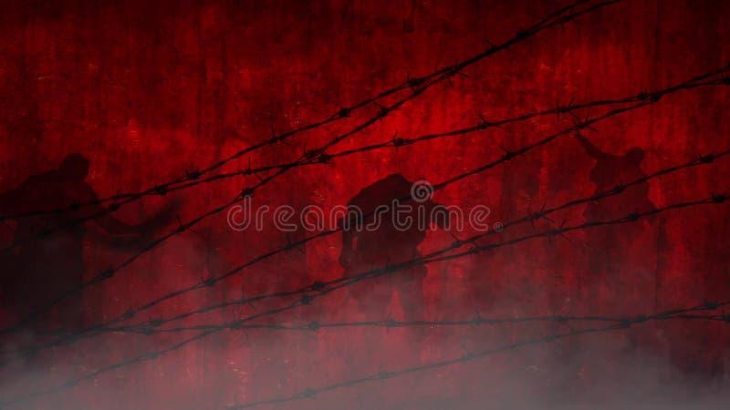 Rote Zombies Hinter Dem Draht Stock Footage - Video von hitze ...