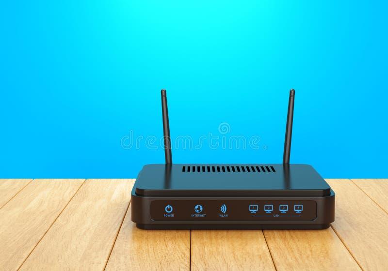 Roteador de Wi-Fi na tabela de madeira fotografia de stock