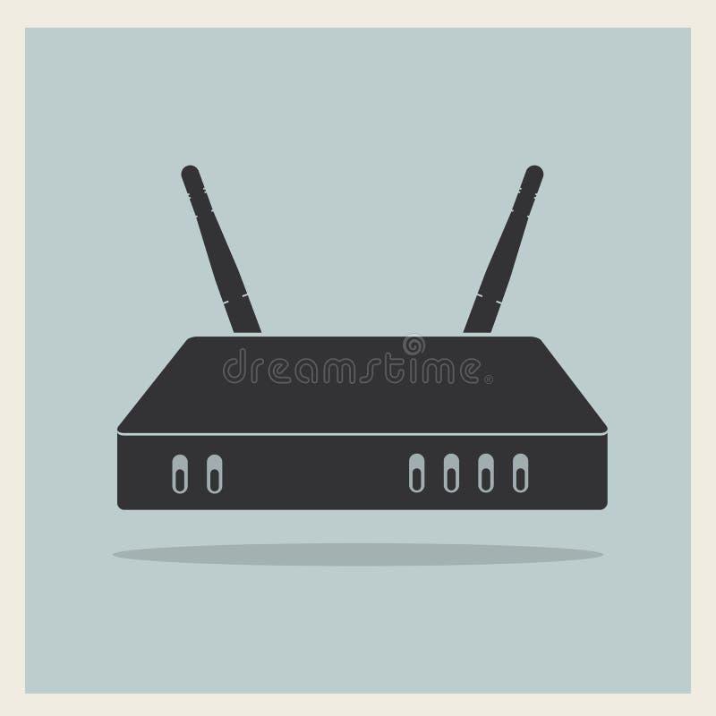 Roteador de Wi-Fi no vetor retro do fundo ilustração do vetor