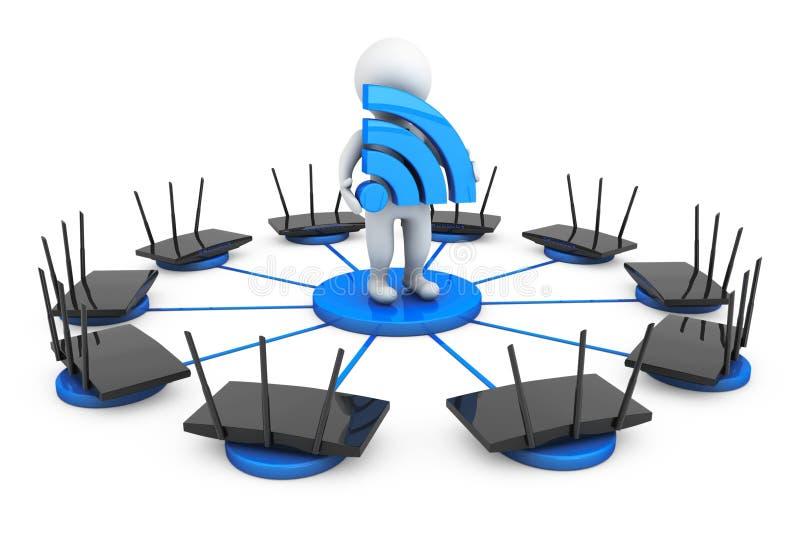 Roteadores em torno da pessoa 3d com sinal de Wi-Fi fotos de stock royalty free