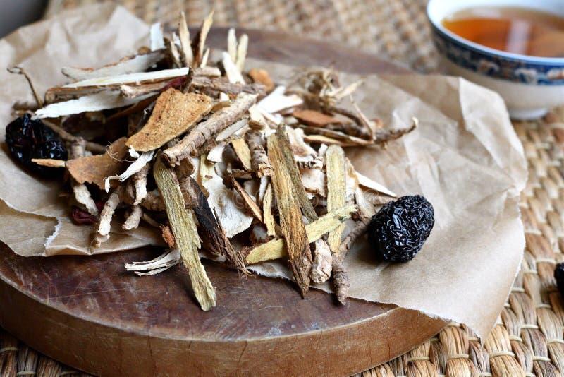 Roteiro chinês da medicina tradicional Vista lateral foto de stock
