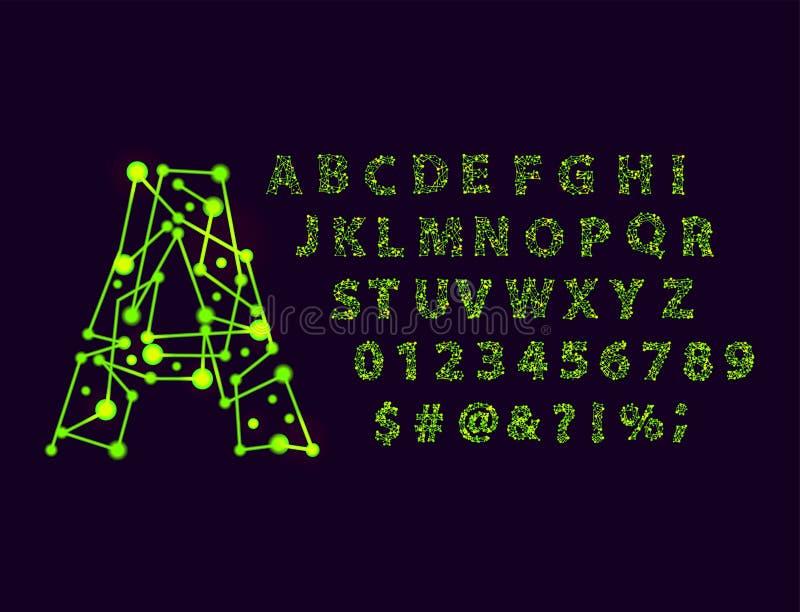 Roteiro do caráter tipo do alfabeto do espaço da fonte com ilustração gráfica moderna tipográfica do vetor do projeto mínimo ilustração stock