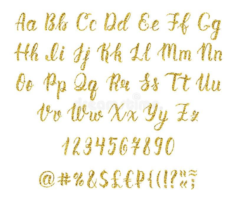 Roteiro latin escrito à mão da escova da caligrafia com números e marcas de pontuação Alfabeto do brilho do ouro Vetor ilustração royalty free
