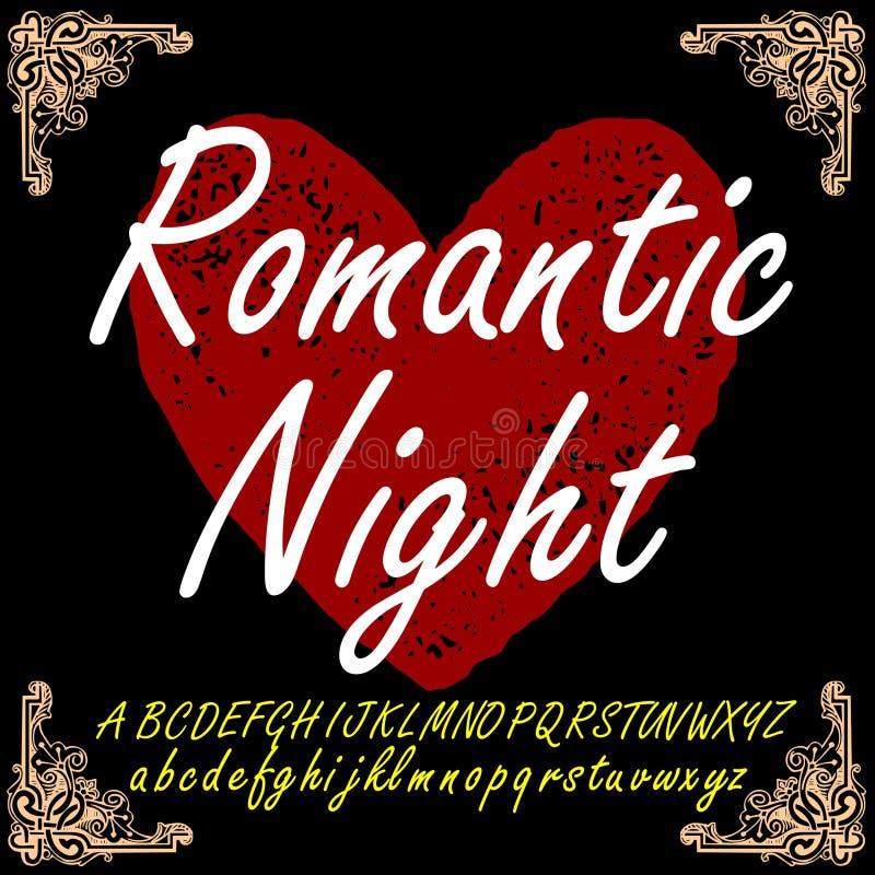 Roteiro romântico da fonte do caráter tipo da noite fotos de stock
