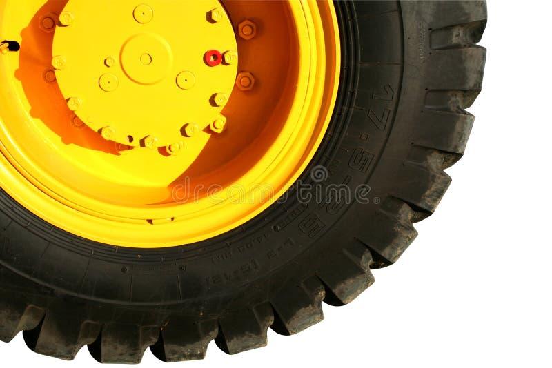 Rotella del bulldozer pesante della costruzione di colore giallo immagine stock libera da diritti
