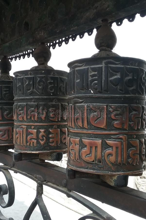 Rotella di preghiera tibetana fotografie stock libere da diritti
