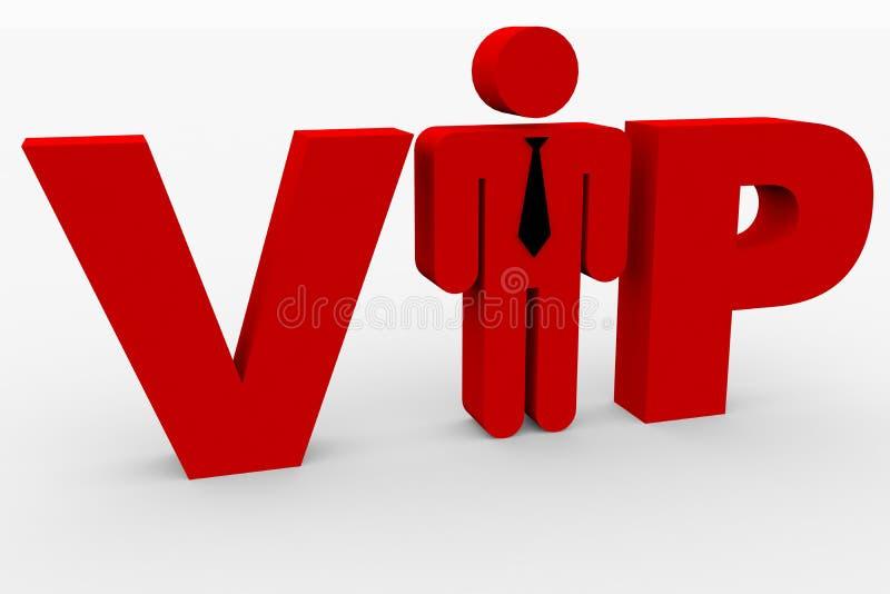 Roter 3D Text VIP auf Weiß. Mann, der i-Zeichen ersetzt. stock abbildung
