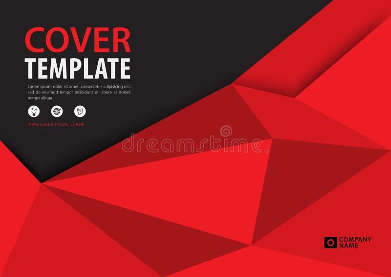 Roter Abdeckung Schablone polygonaler Hintergrund, horizontale Gliederung, Geschäftsbroschürenflieger, Jahresbericht, Buch vektor abbildung