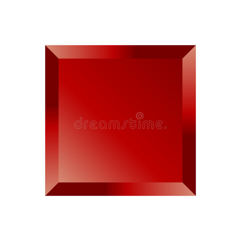 Roter abgeschrägter quadratischer Knopf vektor abbildung