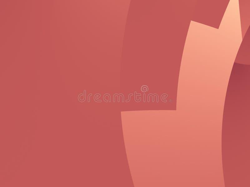 Roter abstrakter Fractal mit glattem Schnitt kurvt, stilisierter Treppe oder einem Gangteil ähnelnd vektor abbildung