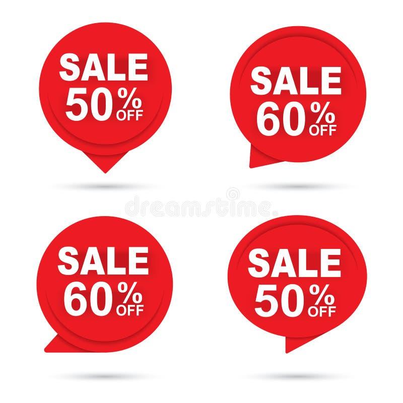 Roter abstrakter Papierhintergrund der Verkaufskreis-Fahne Gebrauch f?r Umbau, Rabattaufkleber, F?rderung, Aufkleber, Sonderangeb lizenzfreie abbildung