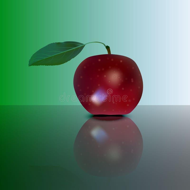 Roter Apfel auf Spiegel Vektor lizenzfreie abbildung