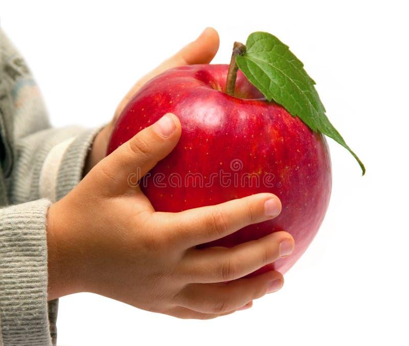 Roter Apfel in den Händen der Kinder. lizenzfreie stockfotografie