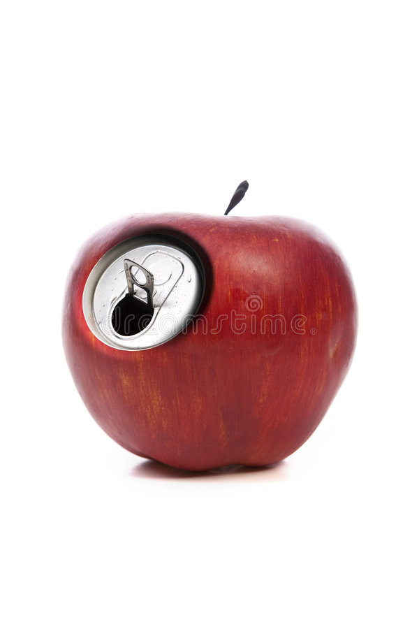 Roter Apfel mit metallischer Dosenöffnung stockbild