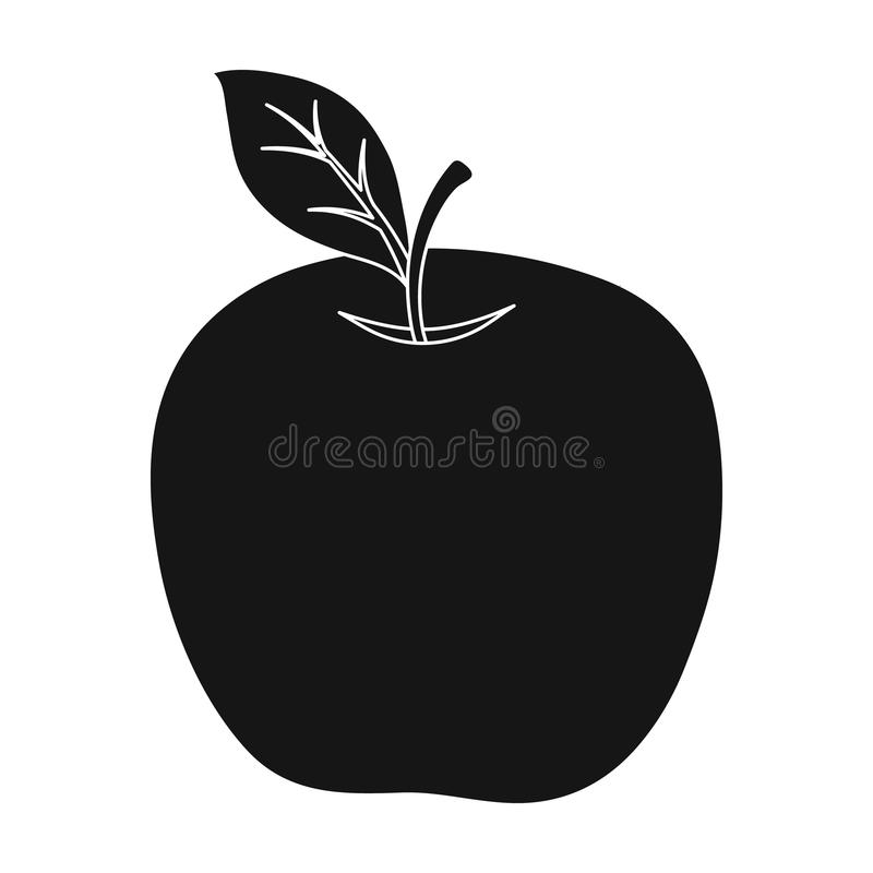 Roter Apfel Snack in der Schule Mittagessen am Bruch Schul- und der Bildungeinzelne Ikone in der schwarzen Art vector Symbolvorra vektor abbildung