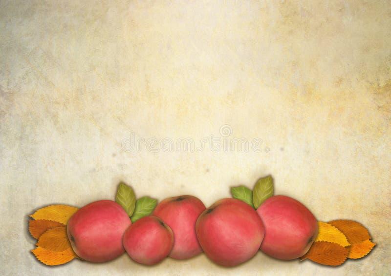 Roter Apfel und autumnleaves vektor abbildung