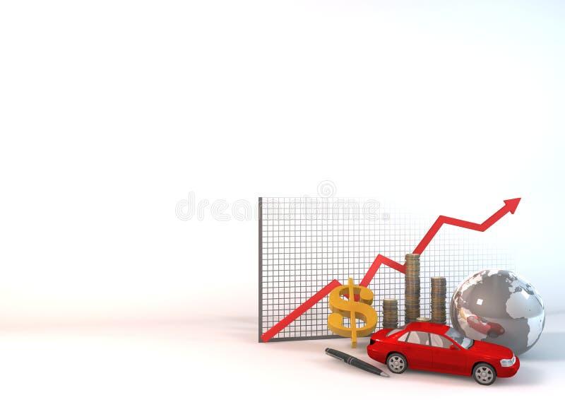 Roter Auto-Anlagegut-Diagramm-Hintergrund Stock Abbildung ...