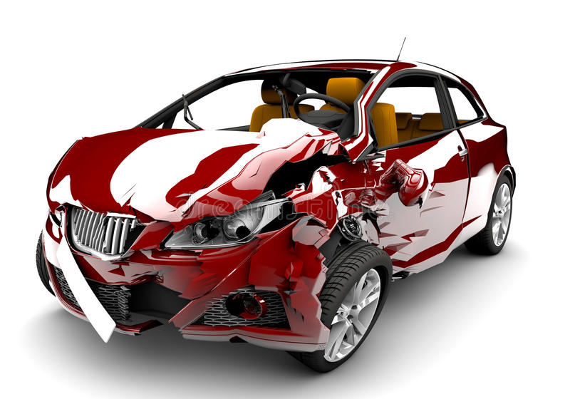 Roter Autounfall stock abbildung